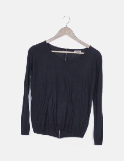 Jersey tricot negro detalle cremallera