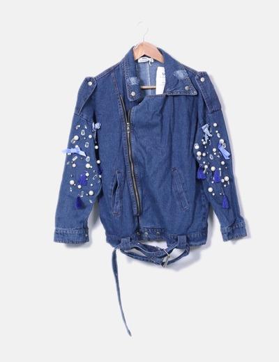 Micolet Con Perle Giacca Jeans sconto Di May 44 wa0gq1qn