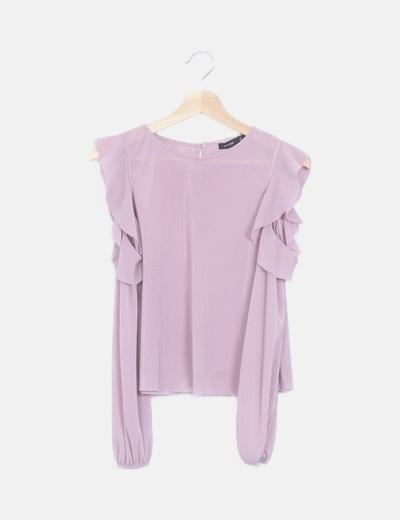 Camiseta plisada rosa cut out
