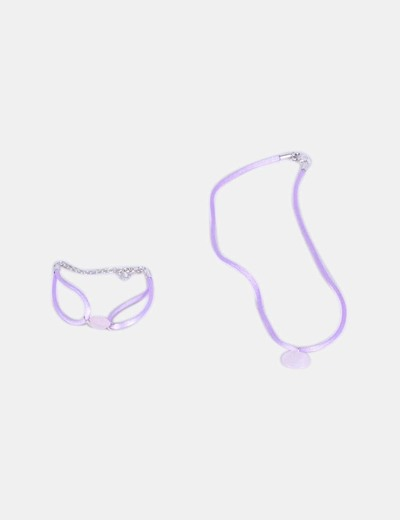 Conjunto de collar y pulsera lila NoName