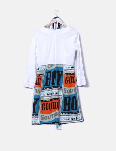 Vestido crudo combinado vintage