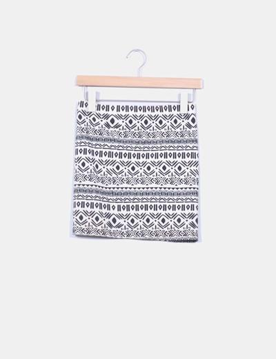 Mini falda beige print  Zara