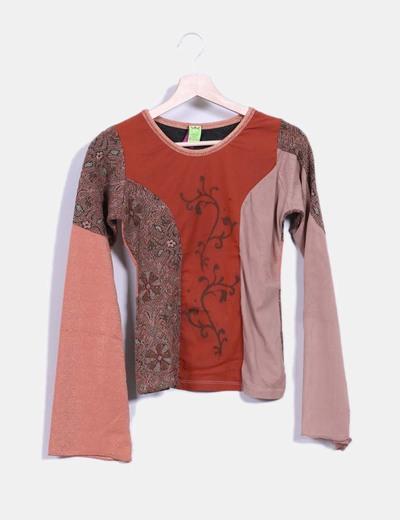 Camiseta color caldera tejido combinado Save the Queen