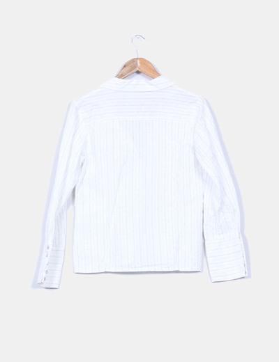 Camisa blanca estampado rayas finas