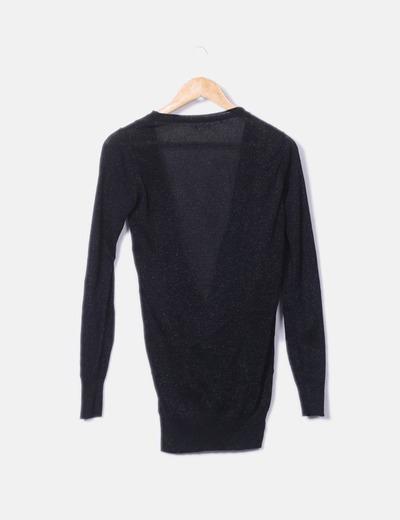 Camiseta negra de punto glitter