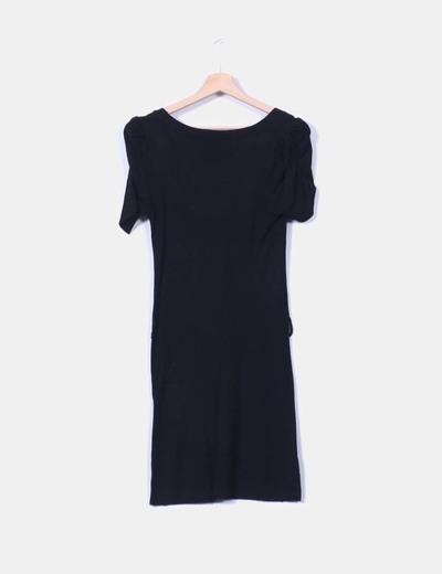 Vestido negro punto stradivarius
