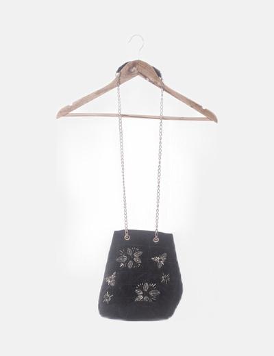 Bolso acolchado velvet negro con abalorios