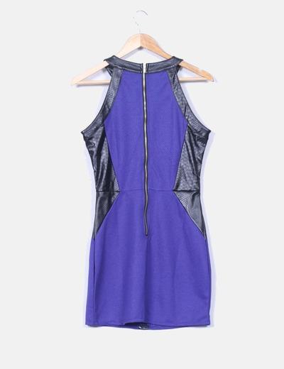 Vestido combinado azul y negro