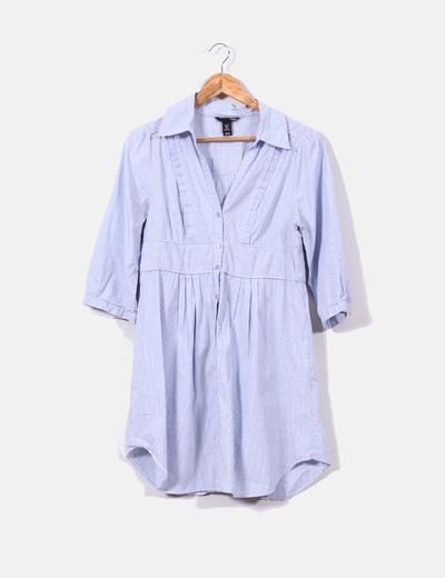 328382fdc H M Vestido camisero azul con rayas blancas (descuento 68%) - Micolet