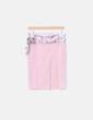 Falda rosa palo cinturón satén floral Andrea Mutty
