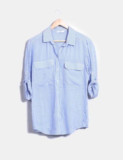 Blusa fluida azul de rayas Shana