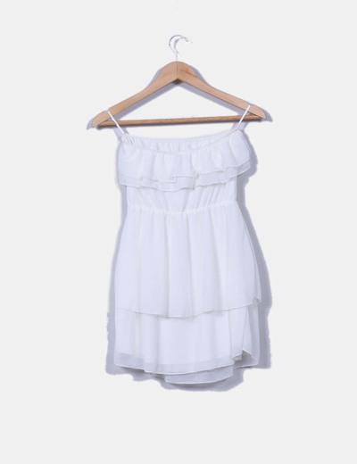 Vestido mini blanco palabra de honor con volante escote