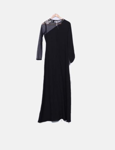 Vestido maxi negro con transparencias detalle pedreria
