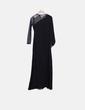 Vestido maxi preto com pedras de detalhe de transparência Suiteblanco