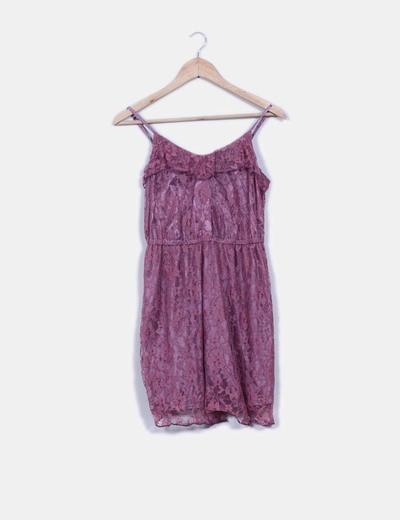 Vestido malva de puntilla H&M