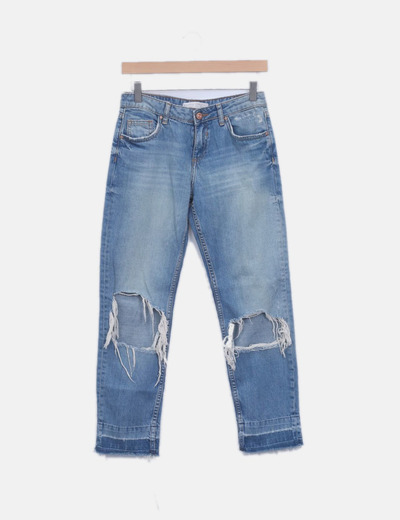Jeans denim relaxed fit con rotos