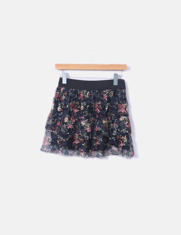 76cd47c81 floral Faldas Suiteblanco online con negra Falda estampado encaje ...