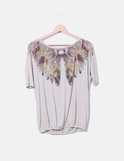 Camiseta beige print plumas Bershka