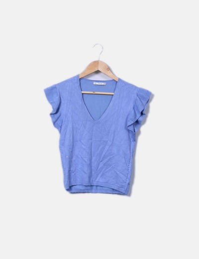 Top tricot azul mangas volante