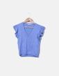 Top tricot azul mangas volante Zara