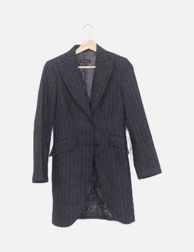 Abrigo largo de traje gris marengo