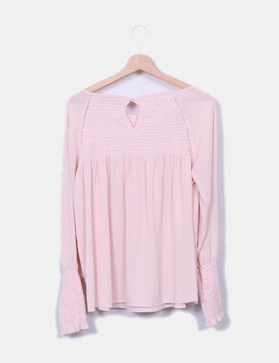 Blusa rosa detalles elasticos