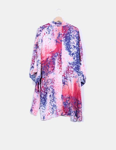 Kimono rosa y azul estampado