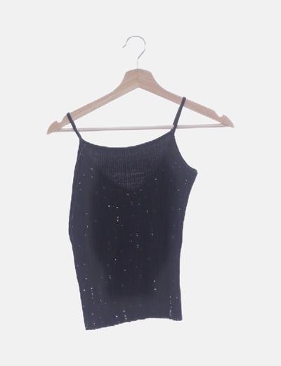 Camiseta negra con paillettes
