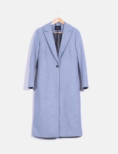 Abrigo azul jaspeado largo Maison Scotch