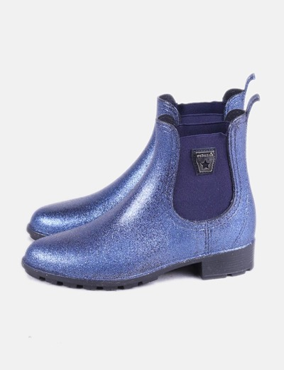 Botín de agua azul glitter