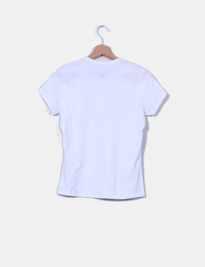 Camiseta blanca print gargantilla