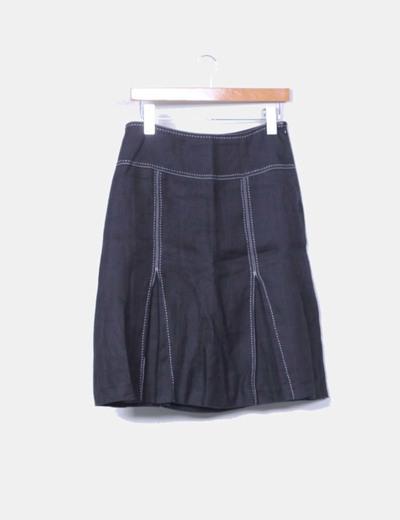 Falda midi godets negra Zara