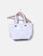 Mala de compras de couro branco DKNY
