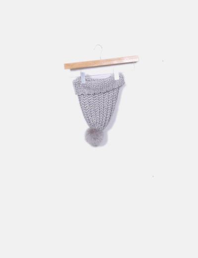 Gorro tricot gris pompón