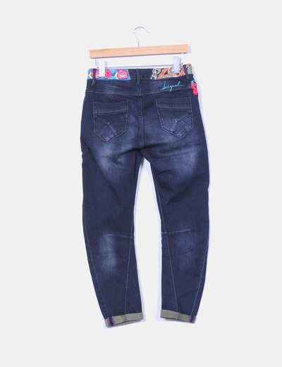 Pantalon baggy denim oscuro bordado