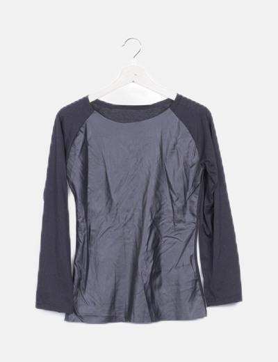 Blusa negra combinada detalle polipiel