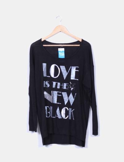 Suéter negro print plata Ms mode