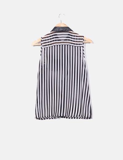 Camisa rayas detalle polipiel