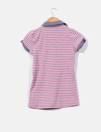 Polo de rayas rosa y gris