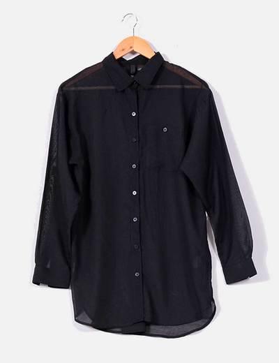 Camisa negra larga H&M