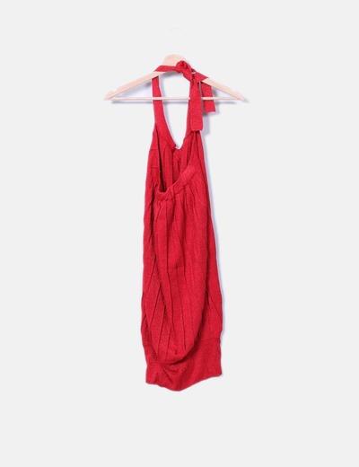 0b6ebf387 Suiteblanco Vestido rojo brillante cuello lace up (descuento 95%) - Micolet