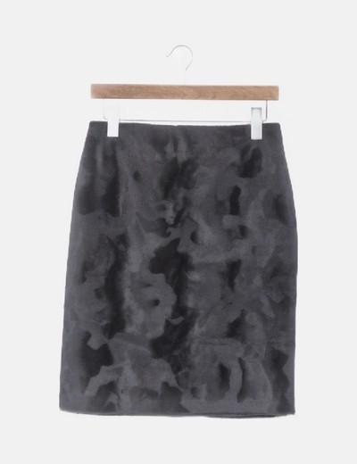 Falda de pelo sintético midi negra