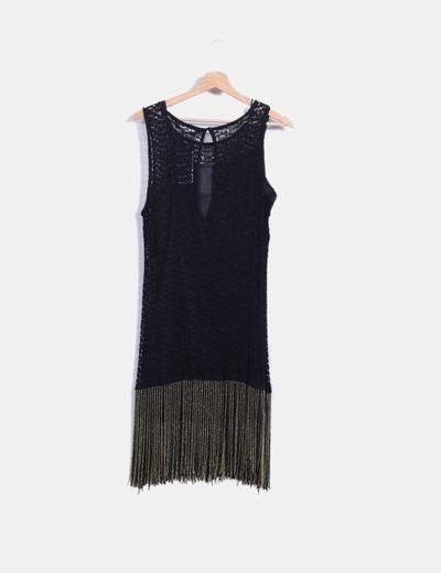 8ece273b300 Zara Vestido midi negro calado con flecos combinados con pedrería  (descuento 86%) - Micolet