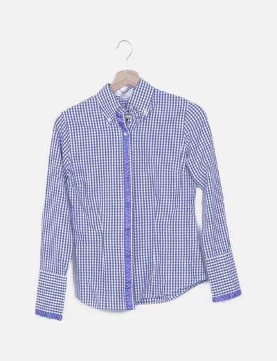 Camisa cuadro vichy combinado azul