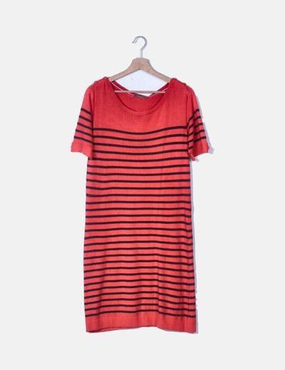 Vestido tricot rojo de rayas detalle botones