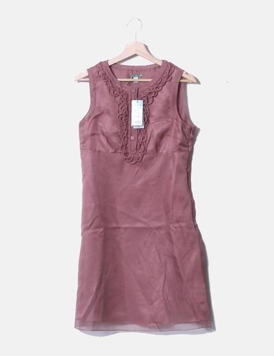 Robe rose en mousseline de soie avec boutons Hoss Intropia