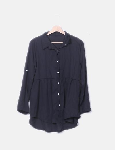 Camisa gasa negra botones blancos