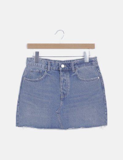 Mini falda denim desflecada