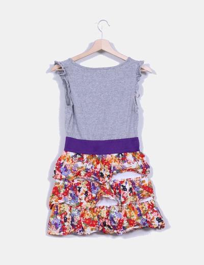 Vestido combinado con falda floral