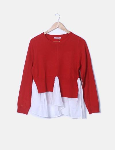 Jersey tricot rojo combinado blusa